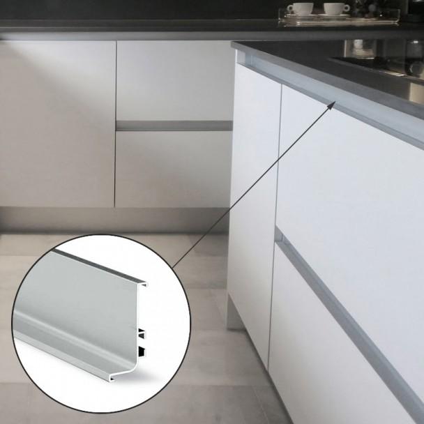 Perfil sistema gola horizontal superior aluminio 8006 for Perfiles aluminio para muebles