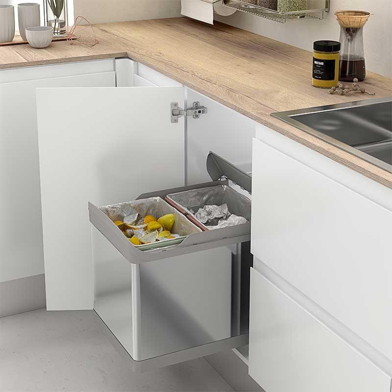 Cubos de basura acero inoxidable 21 21 l para mueble de for Cubo basura cocina