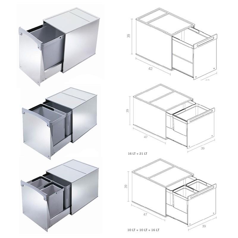 Cubos Reciclaje Basura Acero Inoxidable para Mueble Cocina ...