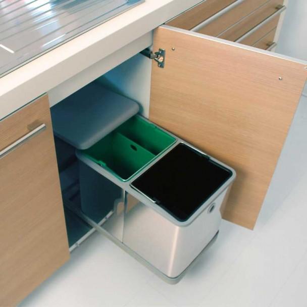 Cubo Basura Metálico 2 x 10,5 L para Mueble de 300 mm