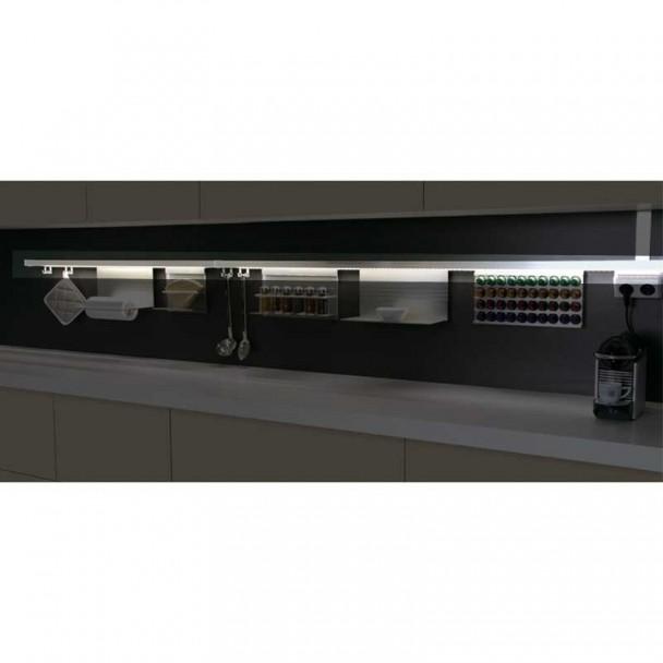 Kit barra aluminio stark para colgar accesorios de cocina for Accesorios cocina online