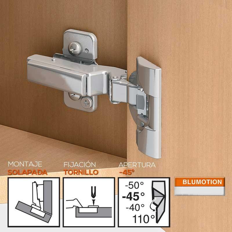 Case/&Cover 45 Grado de Pliegue de Esquina bisagras de la Puerta del gabinete 45 Bisagra de /ángulo de Hardware para el hogar Cocina Ba/ño Armario con Tornillos