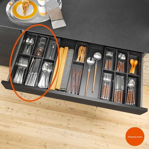 Cubertero AMBIA-LINE de acero para Cajón de Cocina LEGRABOX