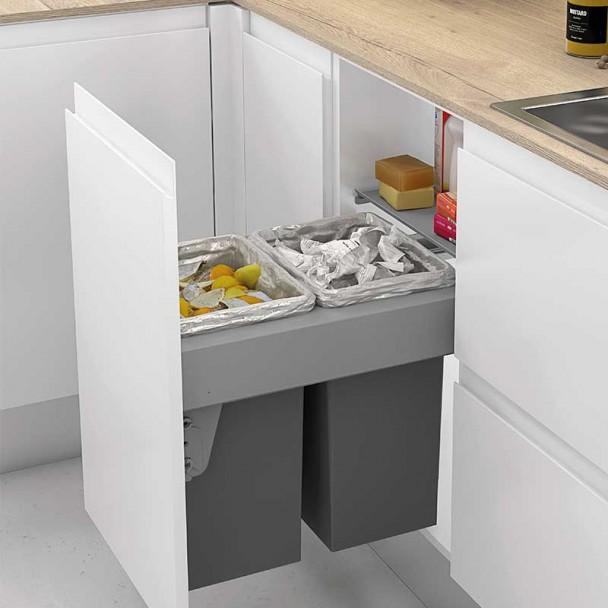 Cubos Reciclaje Basura 24 + 24 L con Sistema de Guías