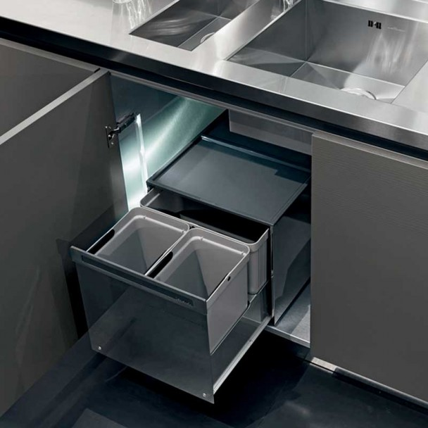Cubos Reciclaje Basura Acero Inoxidable para Mueble Cocina